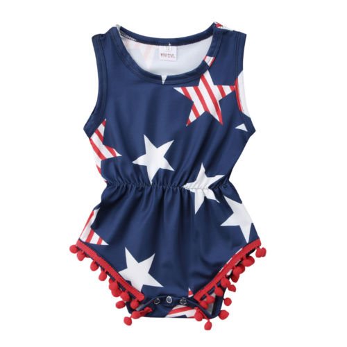 Newborn Baby Girls Clothing Fourth of July Kids Baby Girls Star   Romper   Jumpsuit Playsuit Outfits