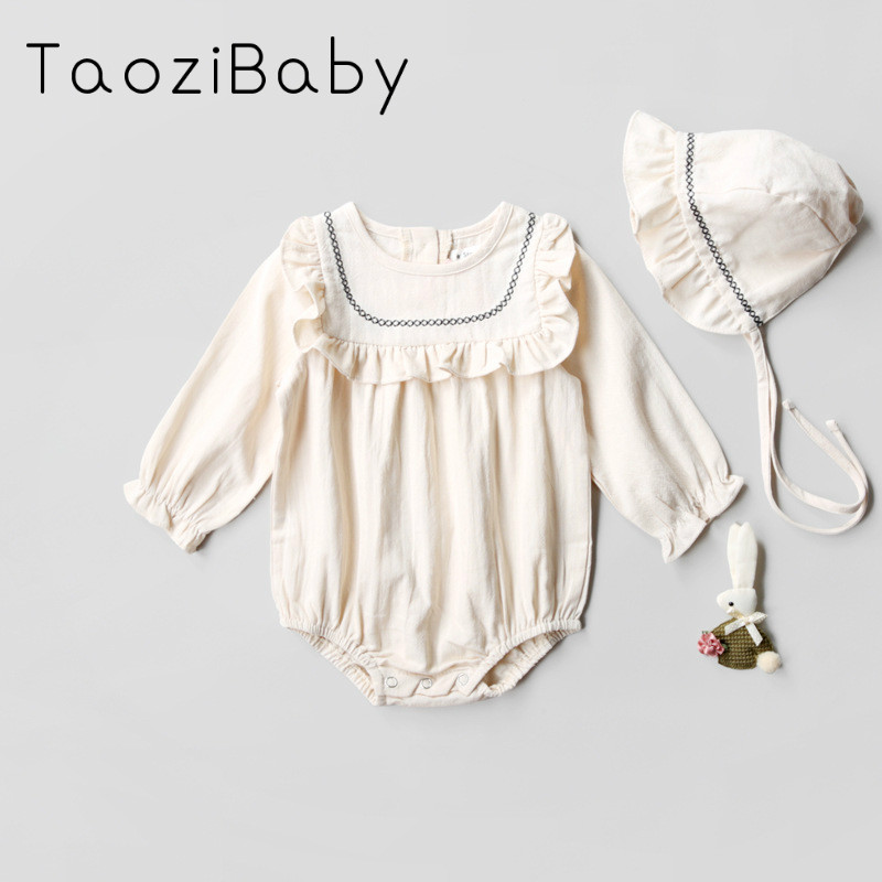 The 2018 Spring Of Korean Girls Baby Siamese Clothes Collar Fungus Cotton  Fart Romper Climb Baby c12423bcb76