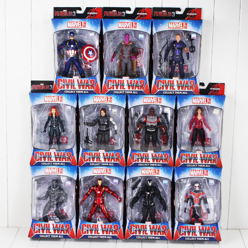 18cm Civil War Captain America Spiderman AntMan Winter Solider Hawkeye Black Panther Falcon Doctor Strange PVC Figure Toy