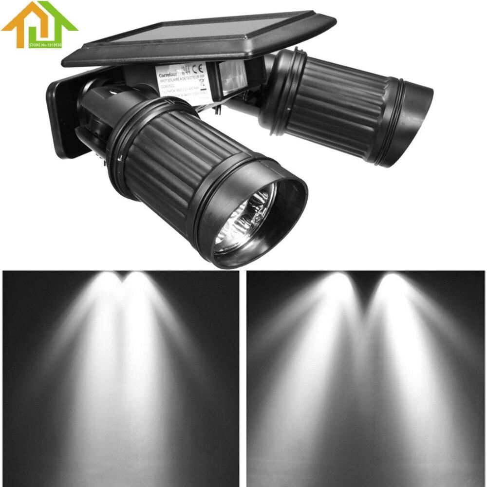 14 LED Extérieure Imperméable À L'eau Solaire Puissance PIR Motion Sensor Double tête Projecteur Réglable Murale pour le Jardin/Cour/allée