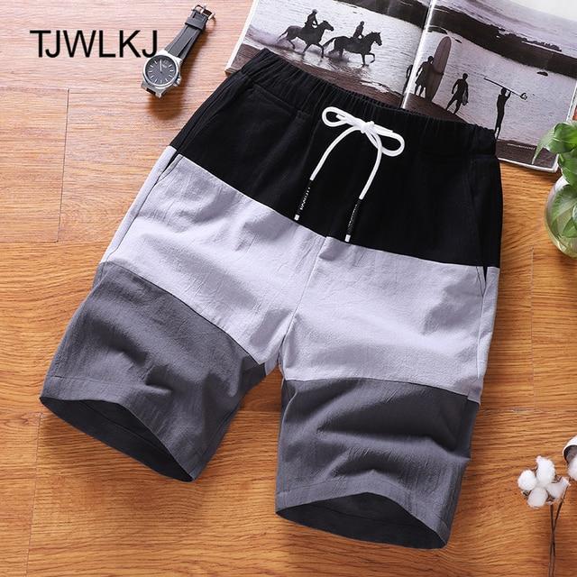 TJWLKJ Summer Breathable Board Shorts Casual Beach Shorts L-4XL Elastic Waist Knee Length Shorts Pantalones Cortos Hombre