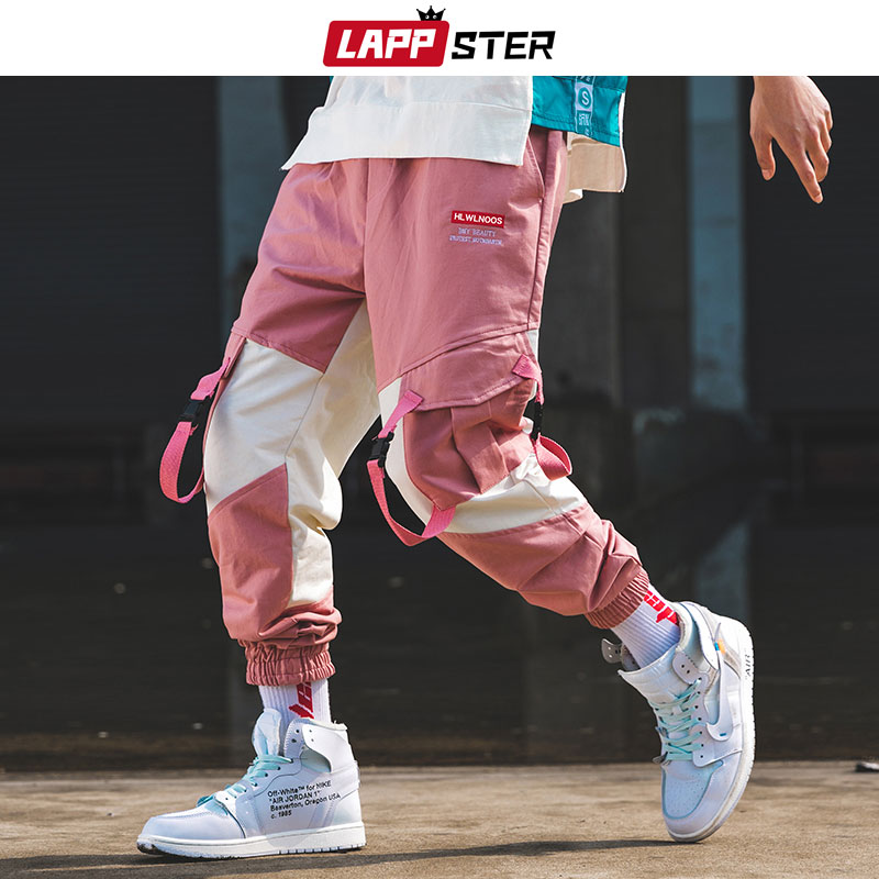 LAPPSTER Men Streetwear Belt Cargo Pants Color Block 2019 Hip Hop Overalls Mens Fashions Sweatpants Baggy Joggers Pants Casual(China)