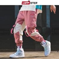 LAPPSTER Men Streetwear Belt Cargo Pants Color Block 2019 Hip Hop Overalls Mens Fashions Sweatpants Baggy Joggers Pants Casual