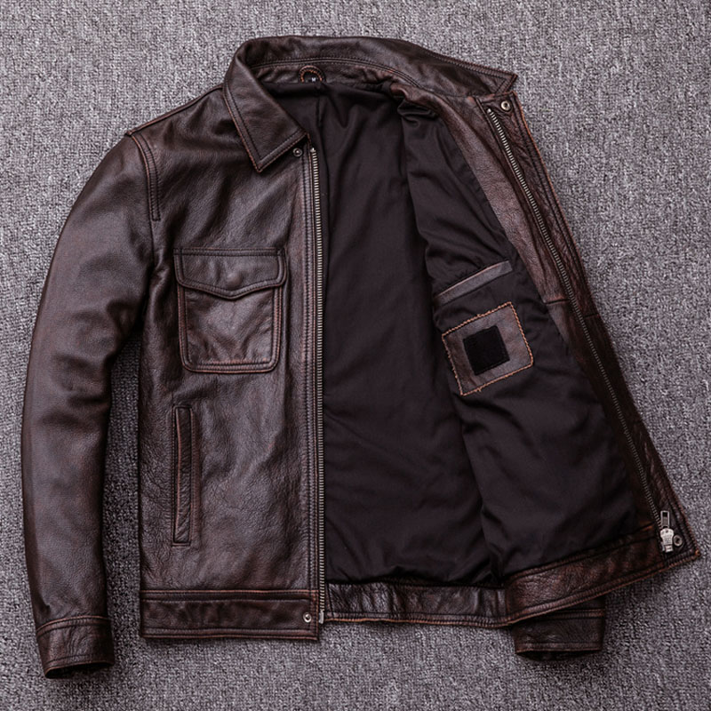 MAPLESTEED Brand Vintage Leather Jacket Men 100 Cowhide Red Brown Black Natural Leather Jackets Men s MAPLESTEED Brand Vintage Leather Jacket Men 100% Cowhide Red Brown Black Natural Leather Jackets Men's Leather Coat Autumn M174