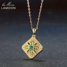 Lamoon 3 мм 3ct Круглый Cut Зеленый Изумрудный 925 цепь серебряные ювелирные изделия кулон Цепочки и ожерелья S925 LMNI056