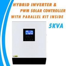 5KVA موجة جيبية نقية عاكس شمسي هجين 48 فولت 220 فولت المدمج في 50A PWM جهاز التحكم في الشحن و شاحن تيار متردد مع عدة متوازية داخل