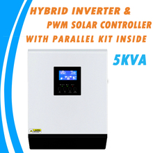 5KVA saf sinüs dalga hibrid güneş inverteri 48V 220V dahili 50A PWM şarj regülatörü ve ac şarj aleti paralel içinde kiti