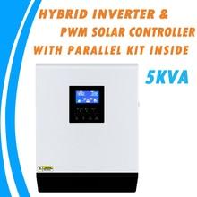 Inversor híbrido, 5kva híbrido onda senoidal pura inversor solar 48v 220v embutido 50a pwm controlador de carga e ac carregador com kit paralelo dentro