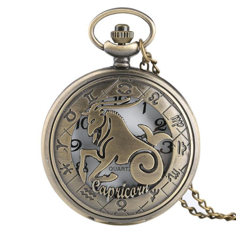 Half Hunter Twelve Constellation Theme Pocket Watch Pendant Cool Hollow With Chain Men Women Vintage Bronze Best Gift Reloj