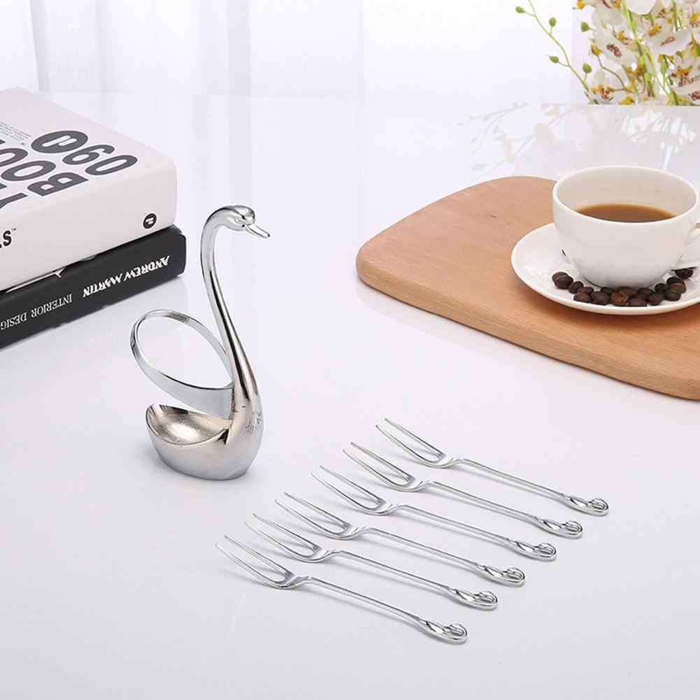 Paduan Swan Garpu Peralatan Makan Sendok Garpu Set Dudukan Alat Makan Set Pernikahan Pesta Buah Dudukan Dekorasi Makan Malam Perak