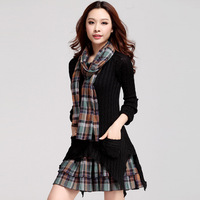 Plus Velvet Checked Dresses Warm Large Size Women Long Sleeve Vestido Asymmetrical Knit Plaid Autumn And