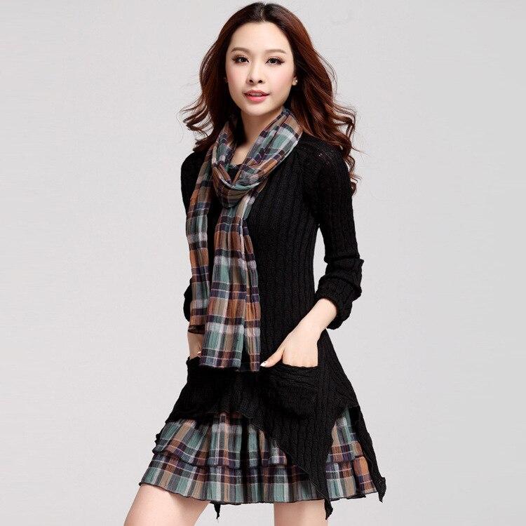 plus velvet checked dresses warm large size women long sleeve vestido asymmetrical