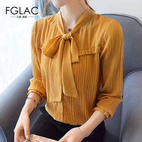 FGLAC Women Chiffon Blouse New Arrivals 2017 Autumn Long Sleeved Chiffon Shirt Elegant Slim Bow Office