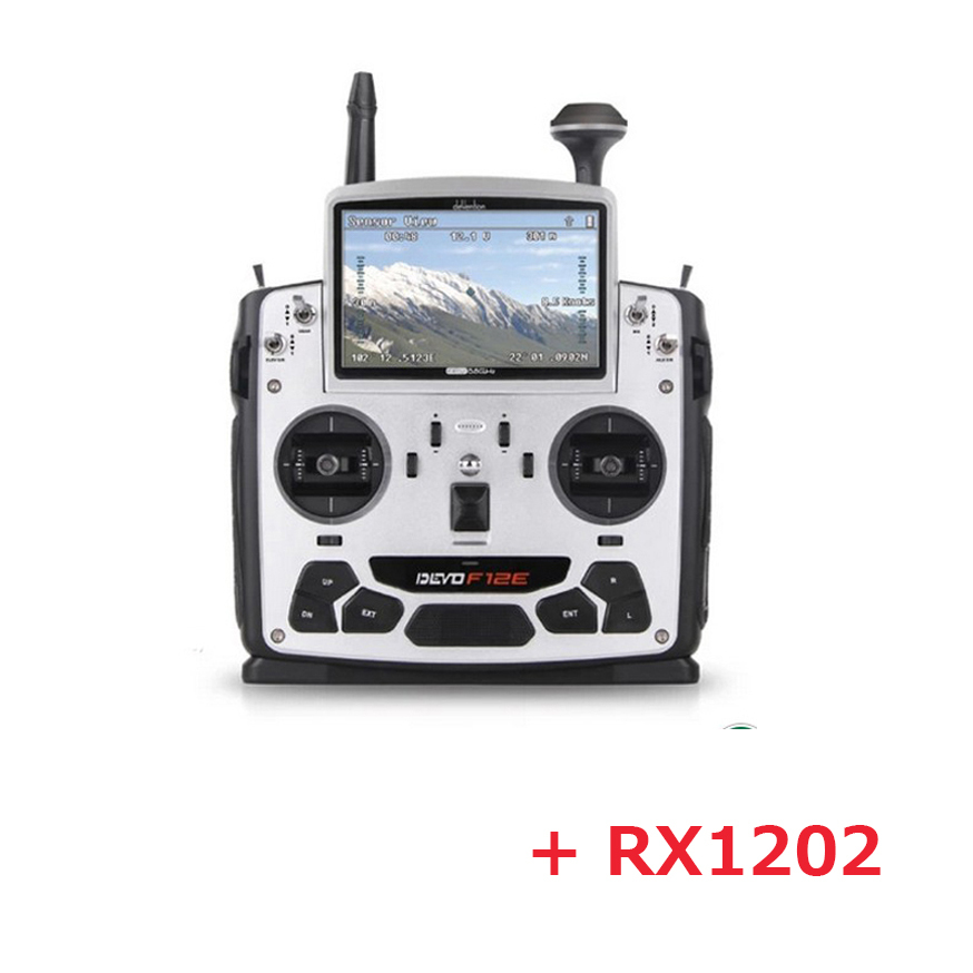 Original Walkera DEVO F12E transmitter With RX1202 receiver 5.8 GHz 12 Channel Transmitter with 5 LCD Display original walkera devo f12e fpv 12ch rc transimitter 5 8g 32ch telemetry with lcd screen for walkera tali h500 muticopter drone
