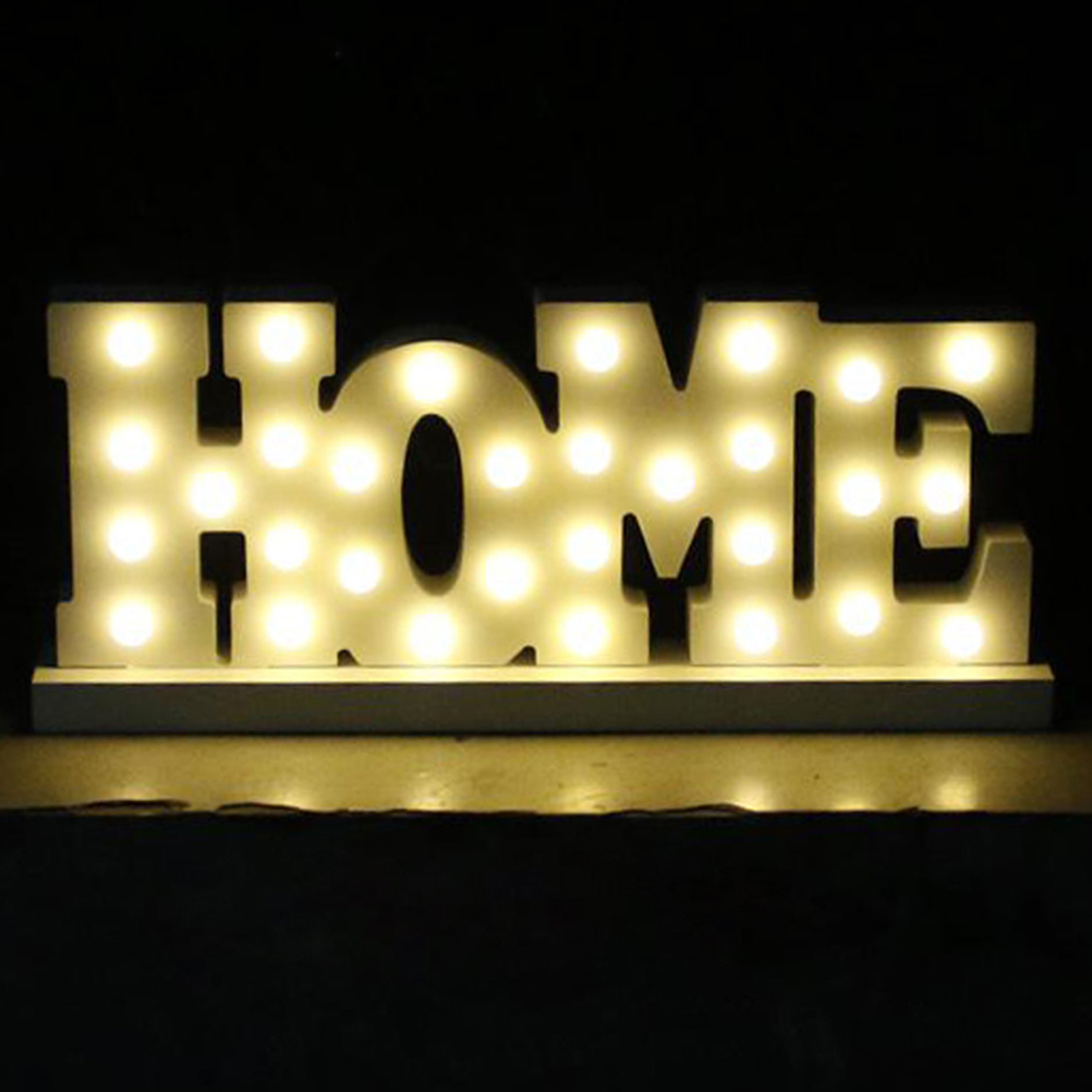 Hot White wooden letter LED Marquee Sign Alphabet LIGHT UP night ...