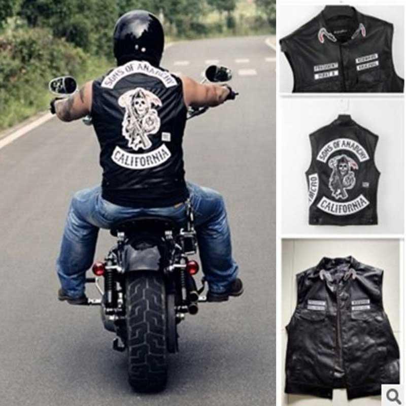 Livraison gratuite Sons d'anarchie broderie cuir Rock Punk gilet costume Cosplay couleur noire moto veste sans manches