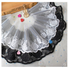 Black white 7cm Width Organza Embroidered Water Soluble Lace Trim For Sewing on Crafts Handmade Accessories DIY