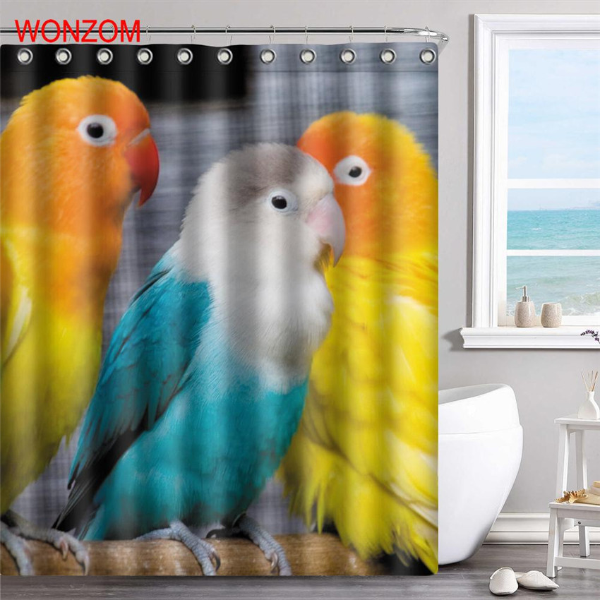 WONZOM Parrot Polyester Fabric Wolf Shower Curtain Frog Bathroom Decor  Waterproof Animal Cortina De Bano With 12 Hooks Gift 2017
