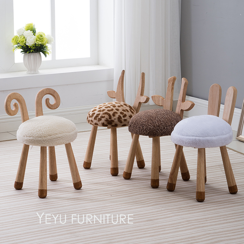 Modern Design Solid Wooden Animal Design Kids Baby Chair