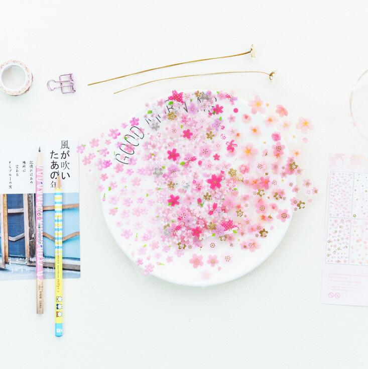 6 pcs/pack Romantic Sakura PVC Stickers Diary Sticker Scrapbook Decoration PVC Stationery Stickers dazzling 3d gemstone waterdrop various designs decorative stickers diary sticker scrapbook decoration pvc stationery stickers