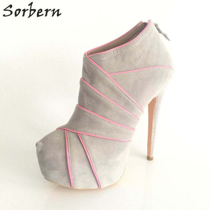 Sorbern Hidden Platform Boots Ankle Women Boots Light Grey Winter High Heels Female Boots Plus Size 4-15 Custom Colors sorbern extrem high heel strange style wedges thigh high boots designer platform boots long custom shoes women plus size 4 15