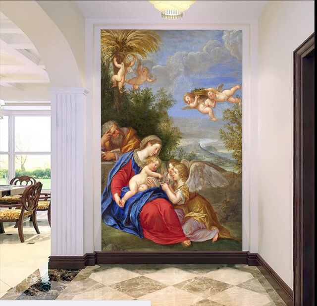 Custom retro wallpaper, the Virgin Mary and angel murals for the living room bedroom ceiling wall waterproof papel de parede custom ceiling murals wallpaper virgin maria and angel for the living room bedroom wall waterproof pvc papel de parede