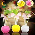 Control Auto led color change night light for children light sensor nightlight EU US Plug 110V/220V led mushroom lamp luminaria