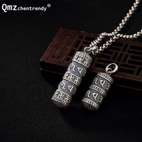Can Open S990 Sterling Silver Tube Locket Pendants Buddhist Shurangama Mantra Six Word Urn Necklace Buddhism case Jewelry