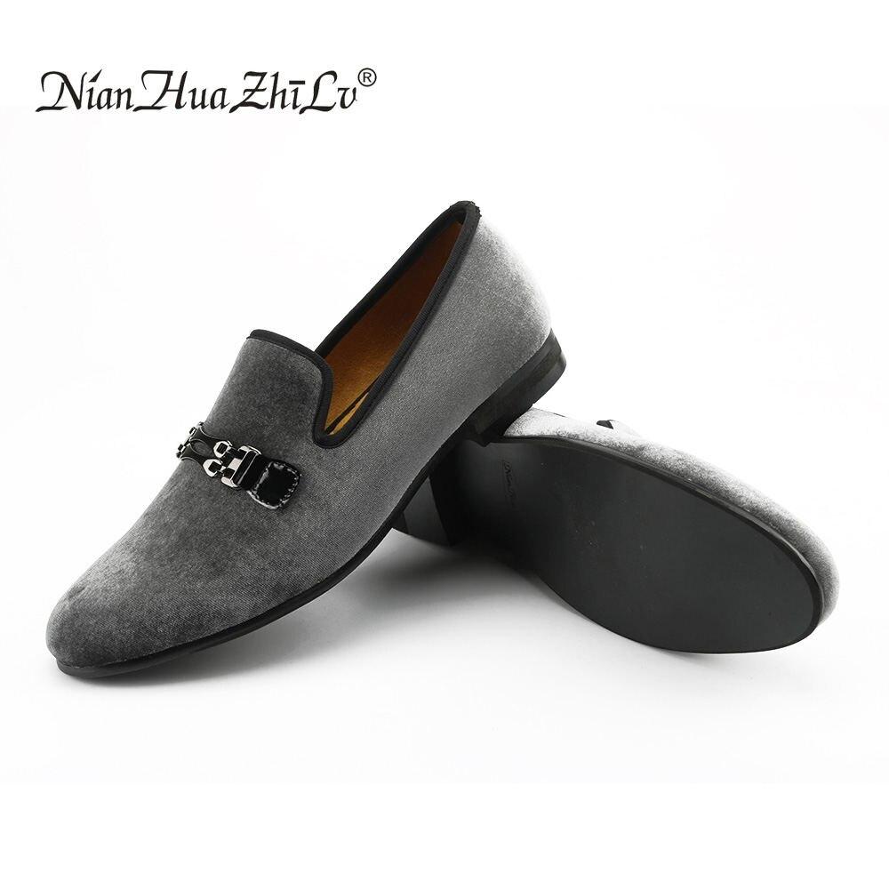 Sapatos Sapatas Gray Mocassins Marca De Casamento Respiráveis Moda Apartamentos Fumadores Veludo Dos Nova Vestido Italiano E Homens 8an16IF
