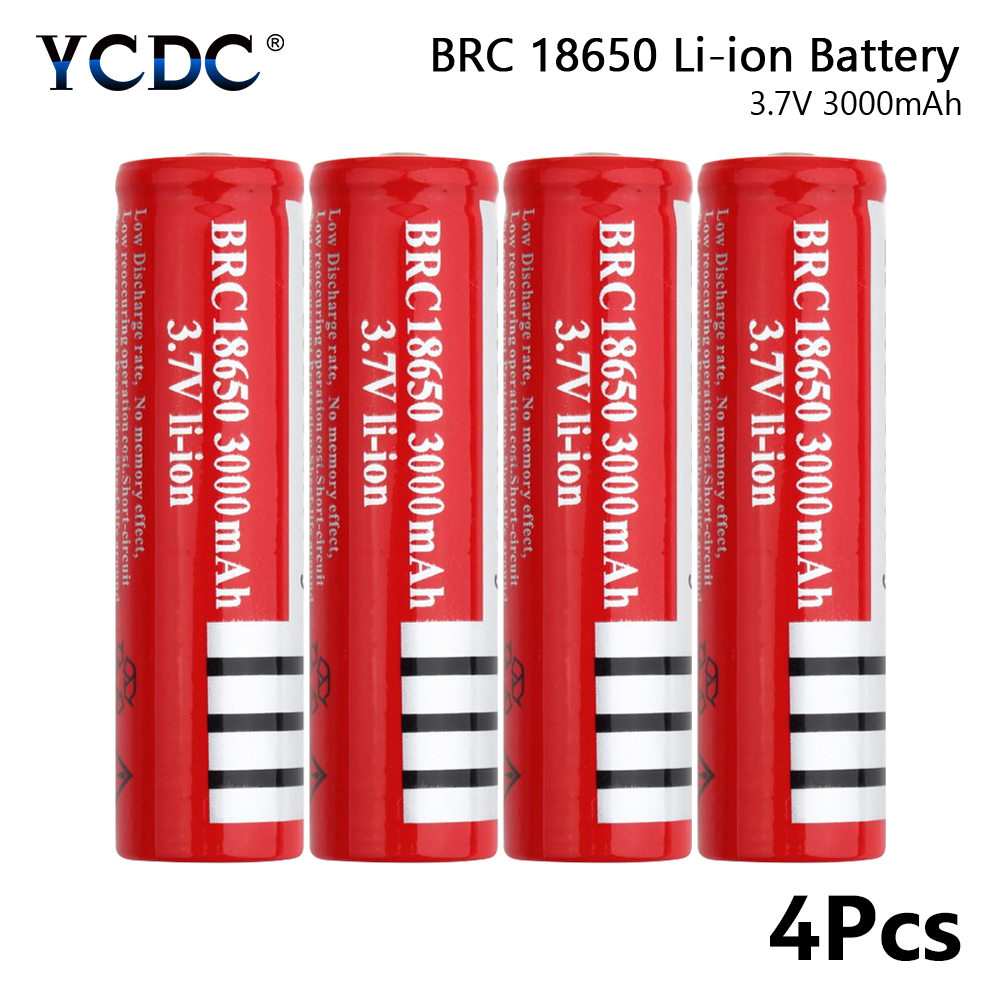 Rechargeable BRC <font><b>18650</b></font> Li-ion <font><b>Battery</b></font> 3.7V 3000mAh For Flashlight Headlamp x4 for Laser Pen LED Flashlight Cell <font><b>battery</b></font> holder image