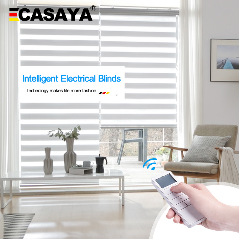 Casaya Automatic motorized zebra Blinds Custom Size Dooya motor Rechargeable Lithium Battery Electric roller blinds