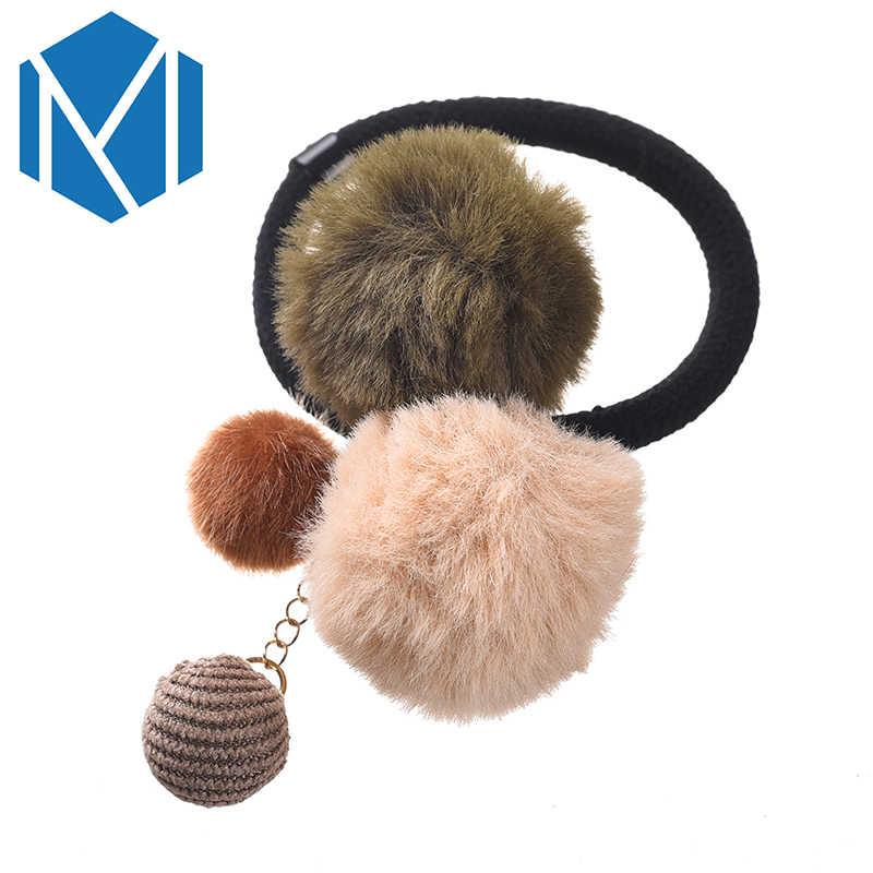 M MISM/хорошее качество, женские эластичные резинки для волос, меховые шарики, повязка на голову, веревки для волос, резинки для волос, аксессуары для волос для девочек, конский хвост, держатели