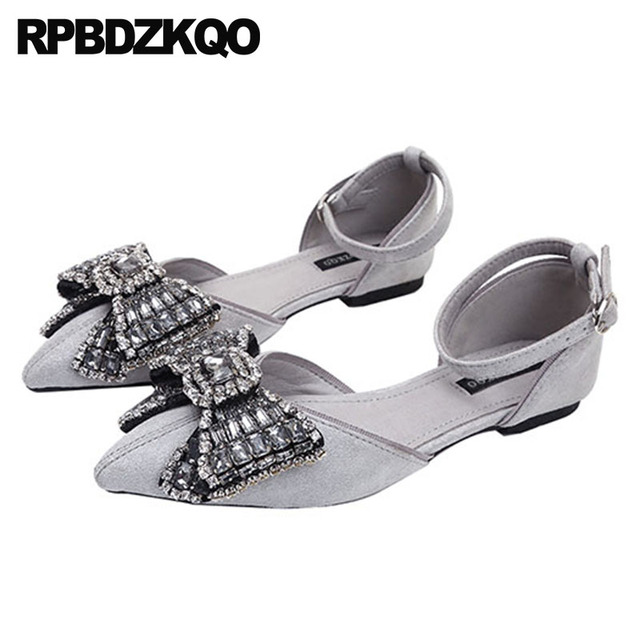 6520936d3e4249 ... Crystal China Sandals Wedding Summer Ladies Beautiful Flats Shoes  Pointed Toe Bow Ankle Strap Women Gray . ...