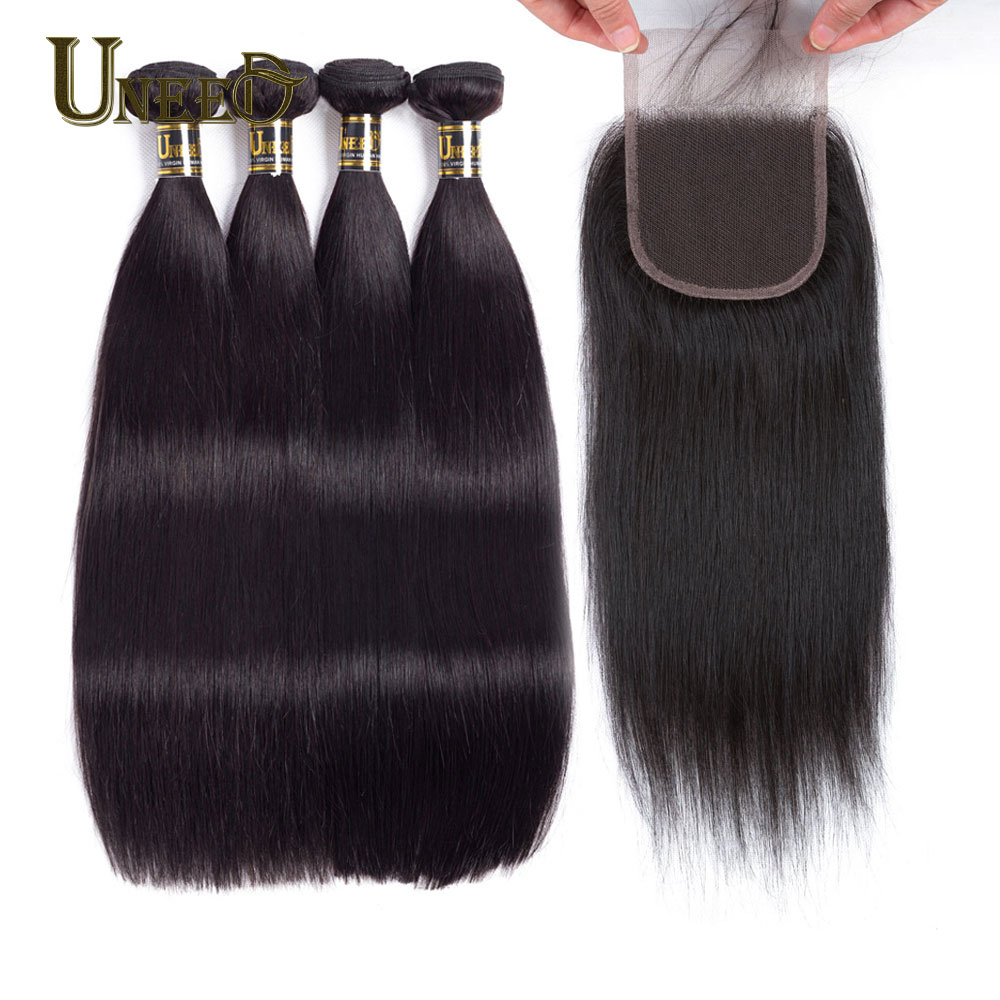 Uneed Hair Human Hair Bundles With Closure 3 And 4 Pcs Peruvian straight hair bundles with Closure 100% remy hair extensions