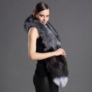 Image 3 - Châles en vraie fourrure pour femmes, écharpe de luxe, Design queue de renard, châle, fourrure naturelle, 2018 véritable, nouvelle version 100%