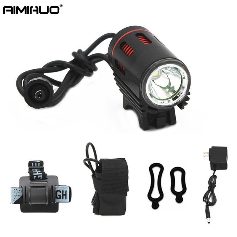 AIMIHUO LED Headlamp Black and red far light LED lantern for a bicycle headlights L2 strong light headlights Flashlight Head