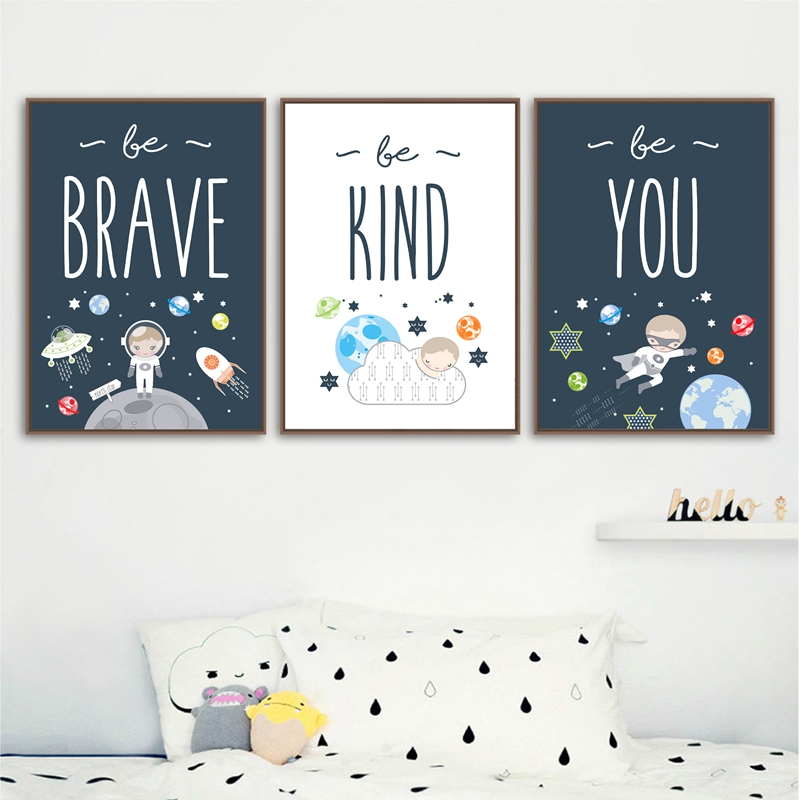 Space themed wall art print kids room decoration