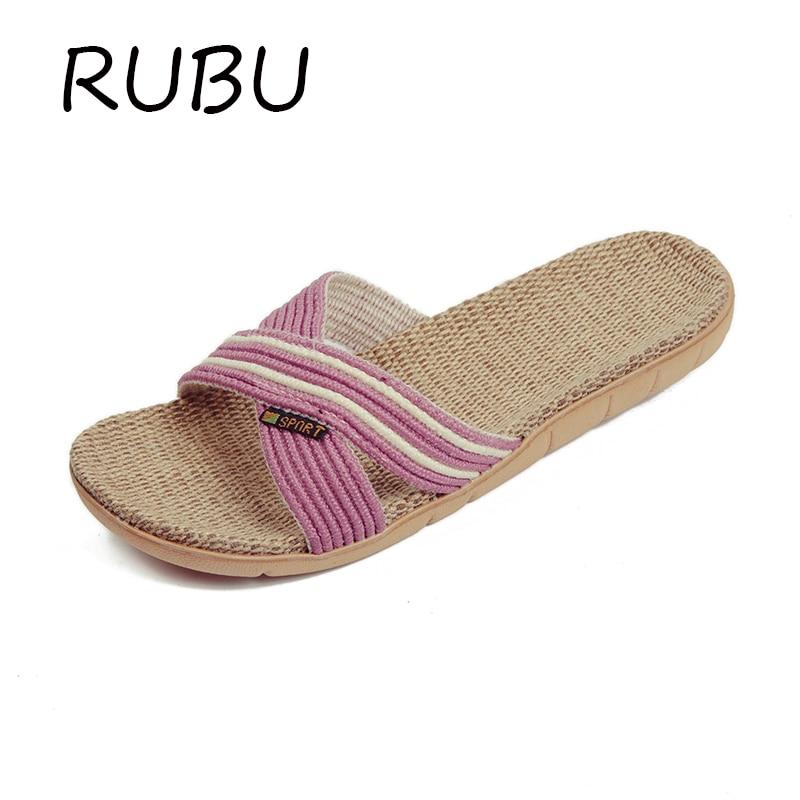 2017Spring Summer Indoor Slipper Linen Home Shoes Women Men Lovers Flat Shoes Hemp Sweat absorbent Breathable