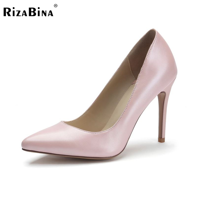 women real genuine leather stiletto pointed toe high heel shoes brand sexy fashion pumps ladies heeled shoes size 34-39 R6066 new 2017 spring summer women shoes pointed toe high quality brand fashion womens flats ladies plus size 41 sweet flock t179