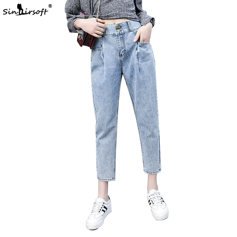 Women High Waist Harem Jeans Pants Woman Vintage Ankle-Length Denim Femme Back Elastic Design  Loose Trousers Summer Autumn New