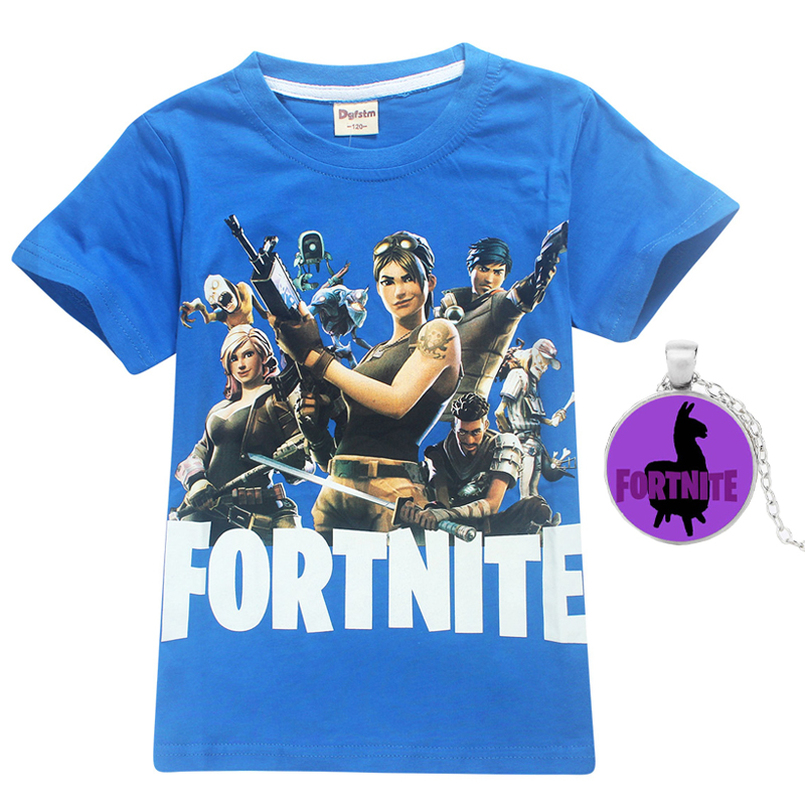 Fortnite Kids Tee 100% Cotton Children Summer Short Sleeve T-Shirts For Boys Girls Clothes Baby Boy T Shirt Tops with necklace 2017 children clothes kids t shirts adventure time 100% cotton white t shirt for boys and girls tops baby tshirt free shipping