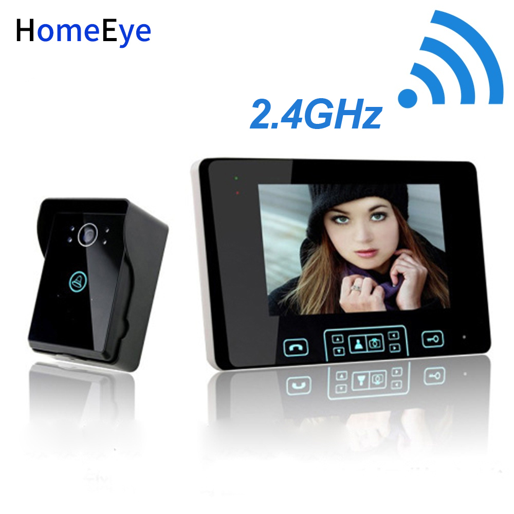 HomeEye 2.4GHz Wireless Video Door Phone Intercom Wireless Access Control System Doorbell Built-in Battery 7''Touch Key Screen