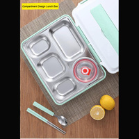 Stainless Steel Lunch Box Tableware Bento Food Container 4 & 5 Compartments Student Portable Food Storage Box with Soup Bowl