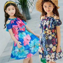 Girls Chiffon Dresses Summer Off Shoulder Girl Dresses Kids Frocks Floral Bohemian Children Party Dress Princess Costume 3-12T(China)