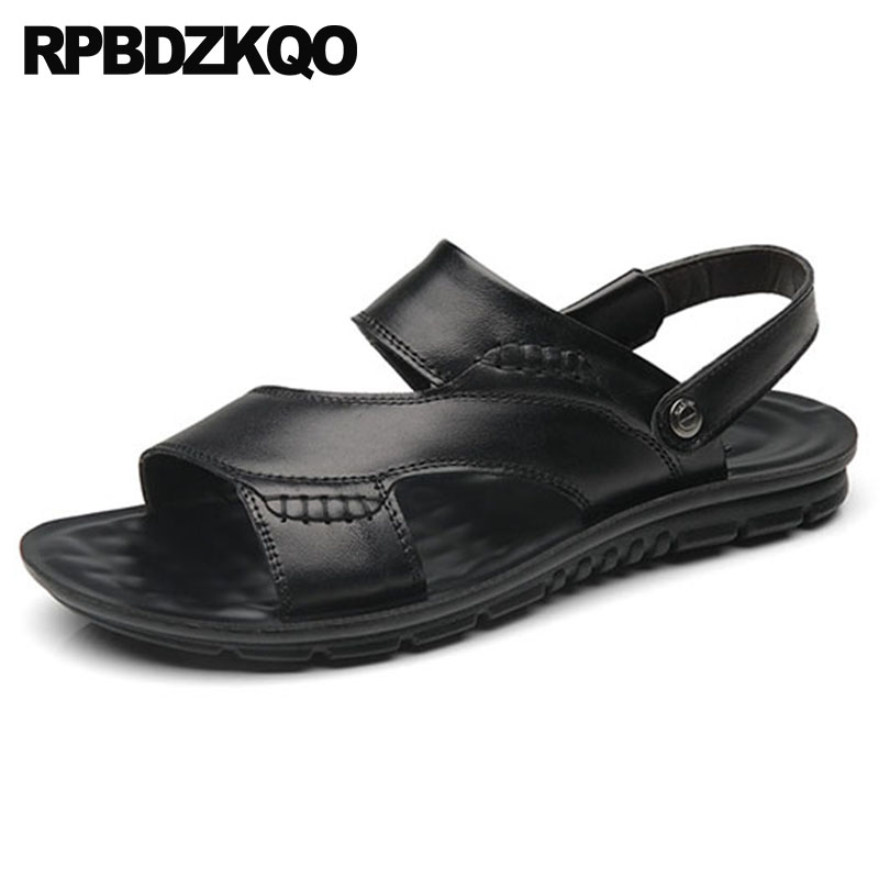 4c43519fcc2618 Flat Slippers Shoes Fashion Slip On Sport Slides Men Sandals Leather Summer  Beach Water 2018 Soft Strap Outdoor Black Sneakers