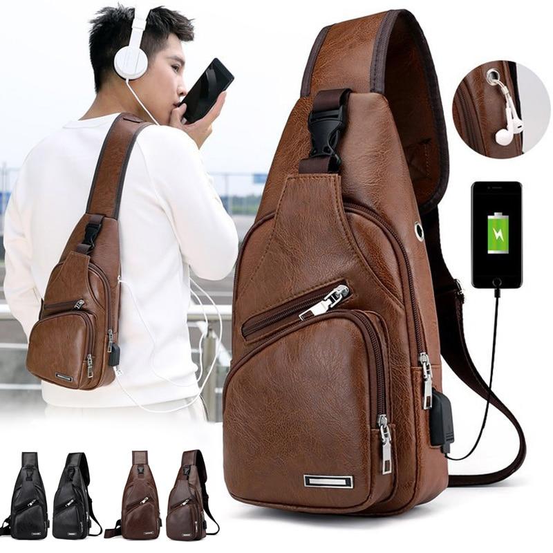 2018 New Men Shoulder Chest Bag USB Charging PU Leather Zipper Fashion For Mobil