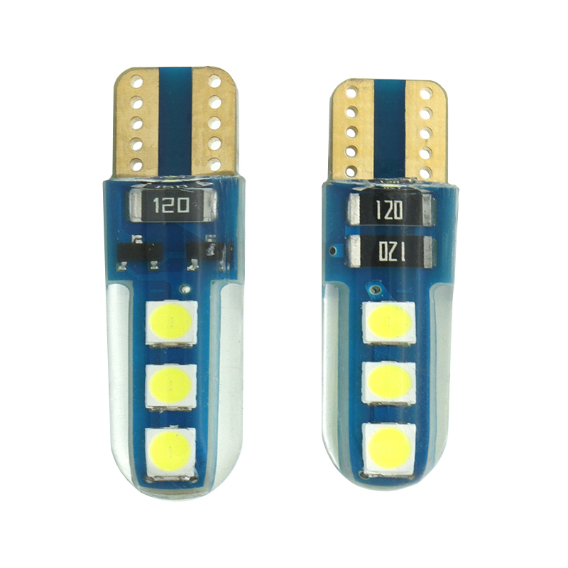 2pcs T10 LED Bulbs White 168 194 W5W LED Lamp T10 Wedge 3030 6SMD Interior Lights 12 - 24V 6000K Turn Signal License Plate Ligh