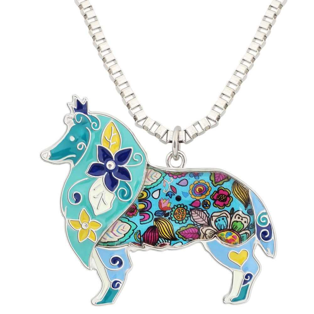 WEVENI emalia kwiatowy Border Collie pies naszyjnik wisiorek łańcuszek modna biżuteria dla zwierząt dla kobiet dziewczyn miłośników domowych hurtownie