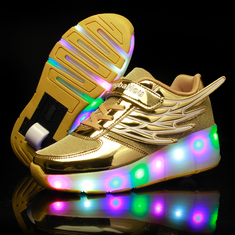 New LED Heelys Shoes With Wing Automatic Lamp Flashing Sport Casual Shoes Kids Sneakers Fashion Breathable For Boys Girls