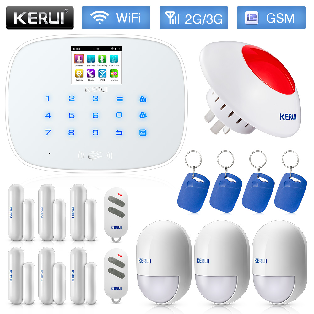 KERUI W193 Wireless Burglar WiFi GSM PSTN RFID Smart Home Security Alarm System Phone APP Remote Push With Indoor Wireless Siren new kerui wireless portable remote control for gsm pstn home alarm system kr8218g home security voice burglar smart alarm system